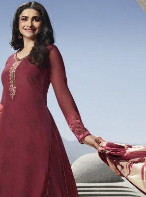 Zari Faux Crepe Salwar Kameez in Maroon