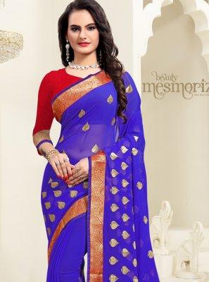 Zari Georgette Classic Saree in Blue