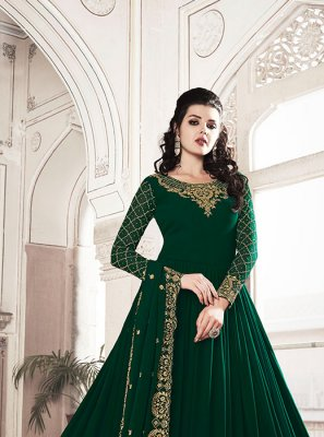 Zari Georgette Designer Floor Length Salwar Suit in Green
