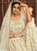 Zari Georgette Designer Lehenga Choli in White
