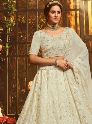 Zari Georgette Designer Lehenga Choli in White