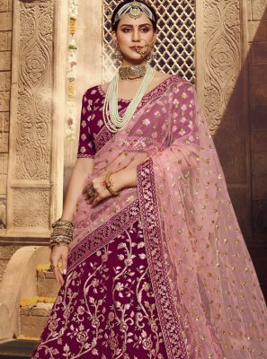 Zari Georgette Designer Lehenga Choli in Wine