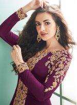 Zari Georgette Designer Salwar Suit in Purple
