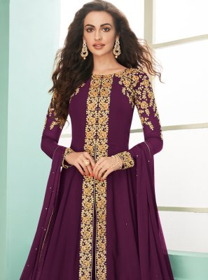 Zari Georgette Designer Salwar Suit in Purple