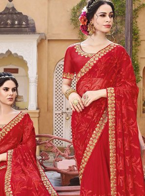Zari Georgette Red Designer Saree