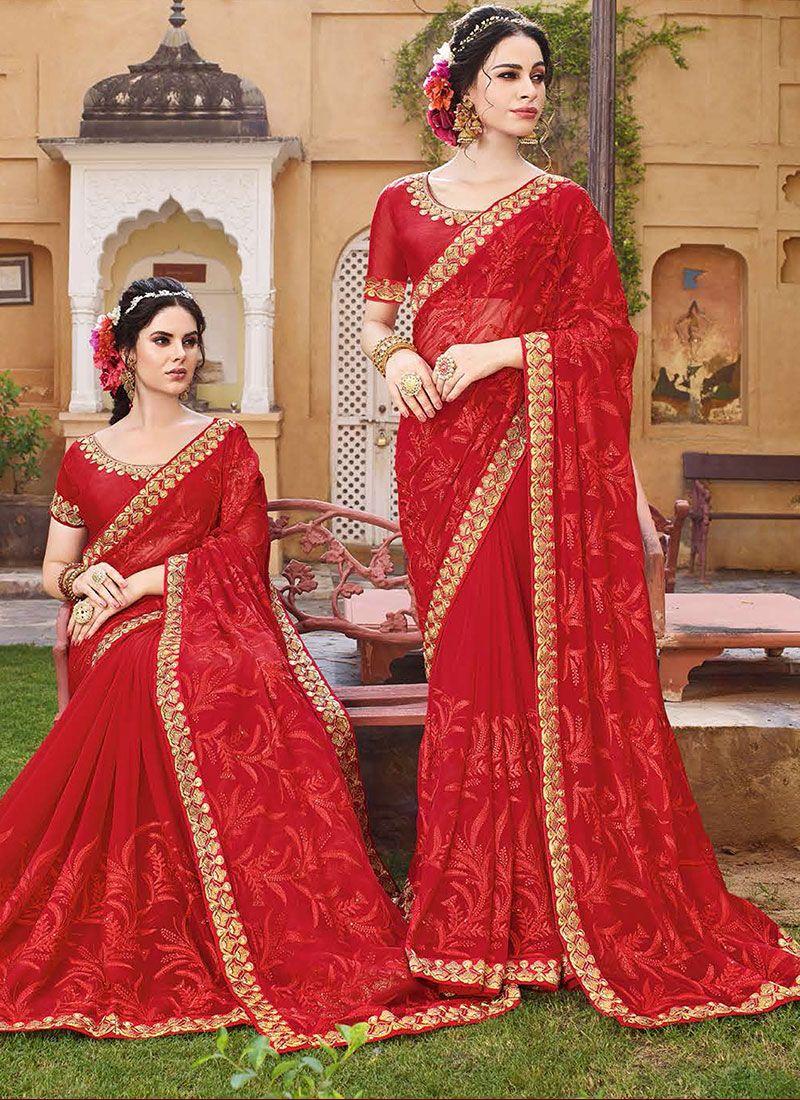 Zari Georgette Red Designer Saree