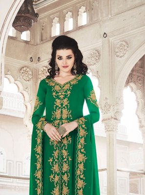 Zari Georgette Salwar Suit in Green