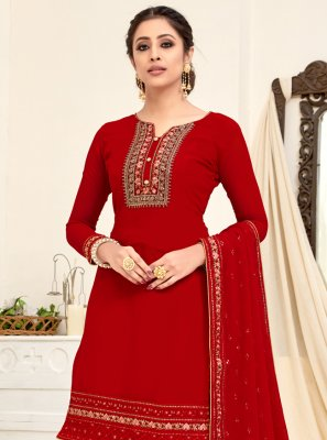 Zari Georgette Salwar Suit in Red