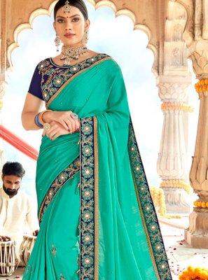 Zari Georgette Satin Turquoise Classic Designer Saree