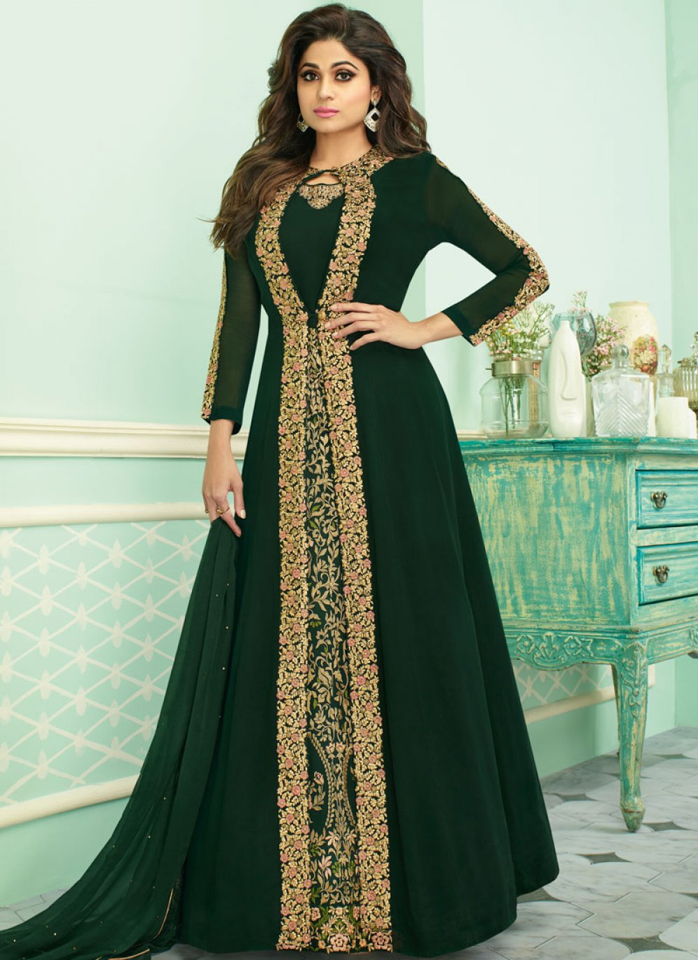 Zari Green Anarkali Suit