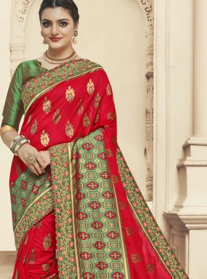 Zari Green and Red Banarasi Silk Designer Saree