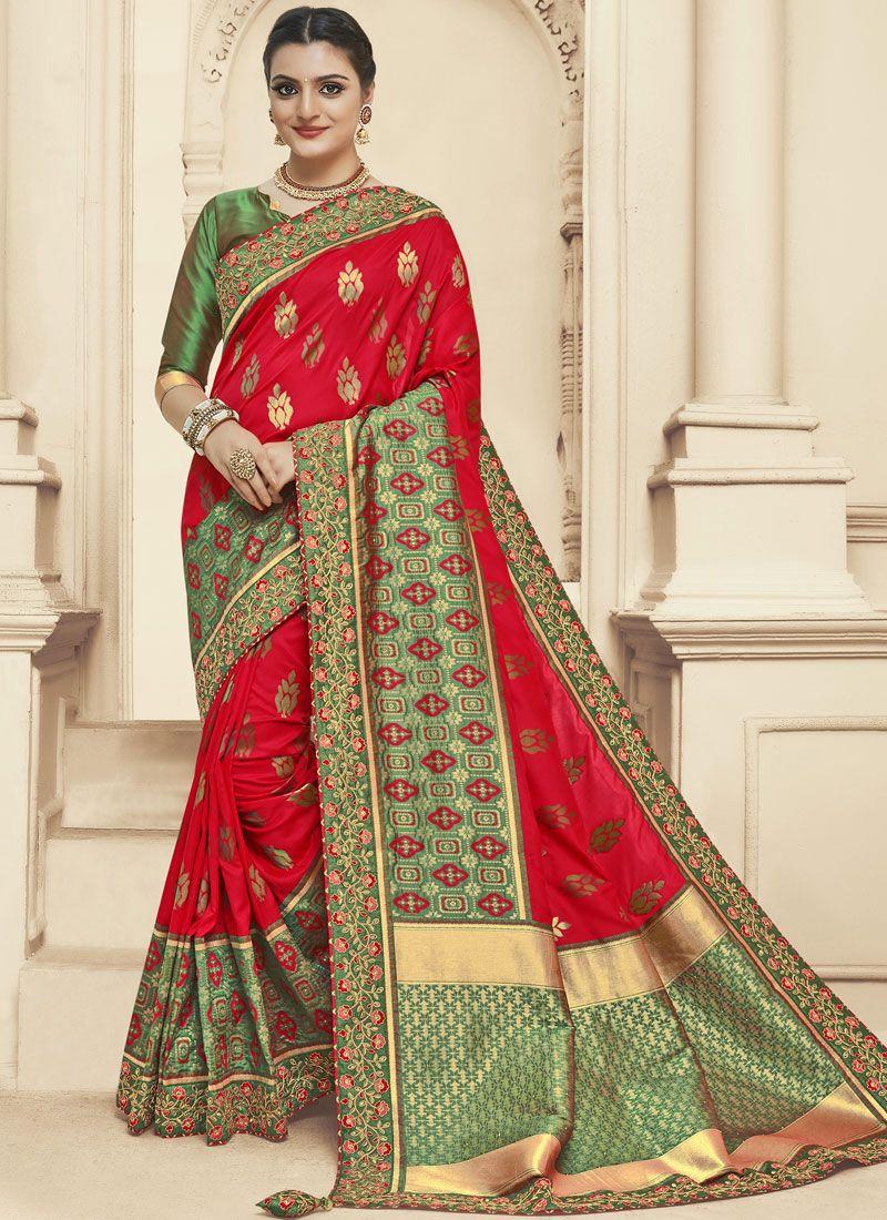 Zari Green and Red Banarasi Silk Designer Saree