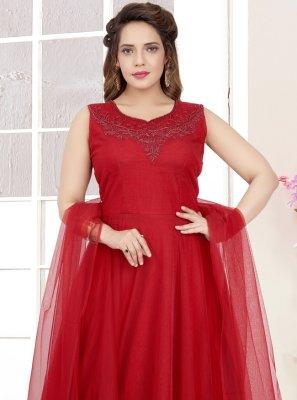 Zari Maroon Net Salwar Suit