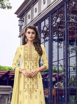 Zari Muslin Designer Salwar Kameez in Cream
