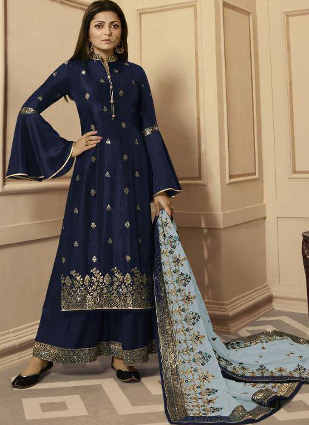 Zari Navy Blue Silk Trendy Salwar Suit