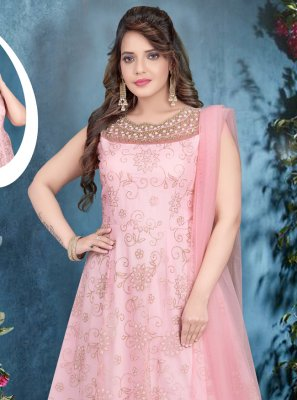 Zari Net Designer Gown in Pink