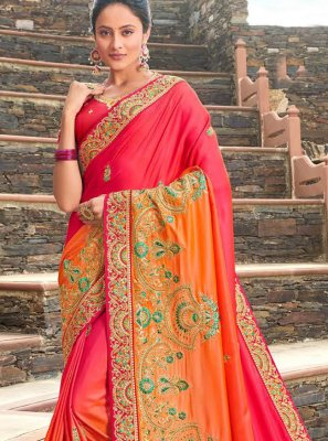 Zari Orange and Red Viscose Contemporary Saree