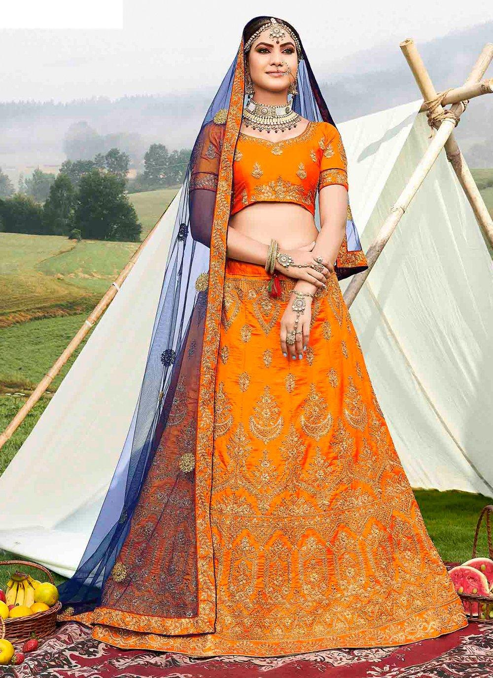Zari Orange Banglori Silk Designer Lehenga Choli