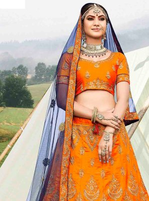 Zari Orange Banglori Silk Designer Lehenga Choli