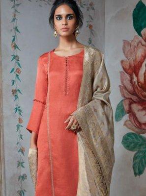 Zari Orange Satin Salwar Suit