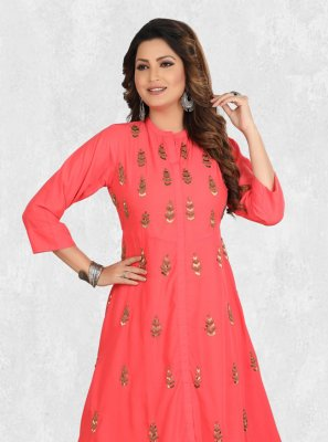 Zari Pink Party Wear Kurti