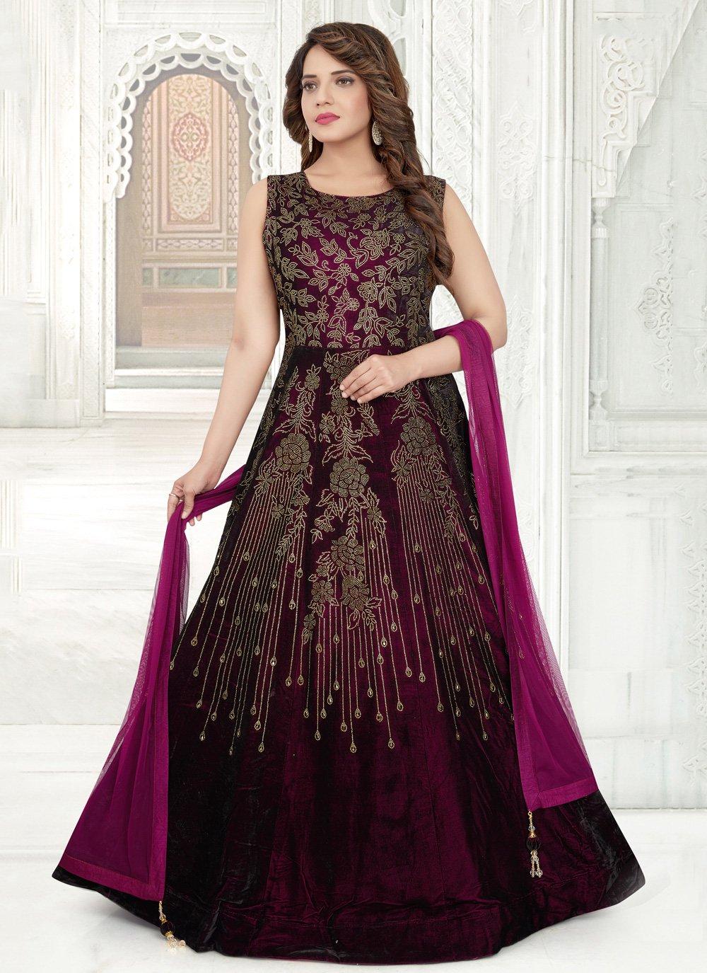 Zari Purple Floor Length Anarkali Salwar Suit