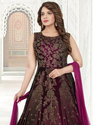 Zari Purple Floor Length Anarkali Salwar Suit