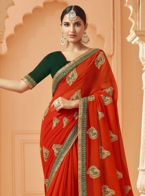 Zari Red Designer Saree
