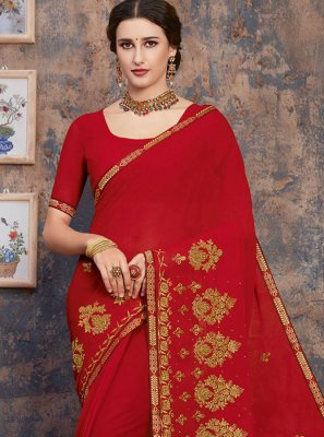 Zari Red Georgette Designer Saree