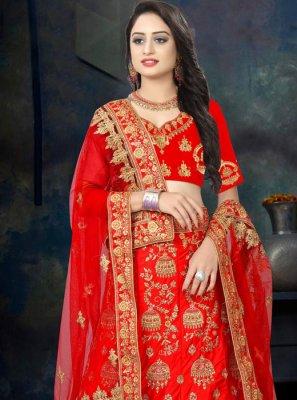 Zari Satin Designer Lehenga Choli in Red
