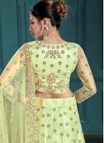 Zari Sea Green Net Designer Lehenga Choli