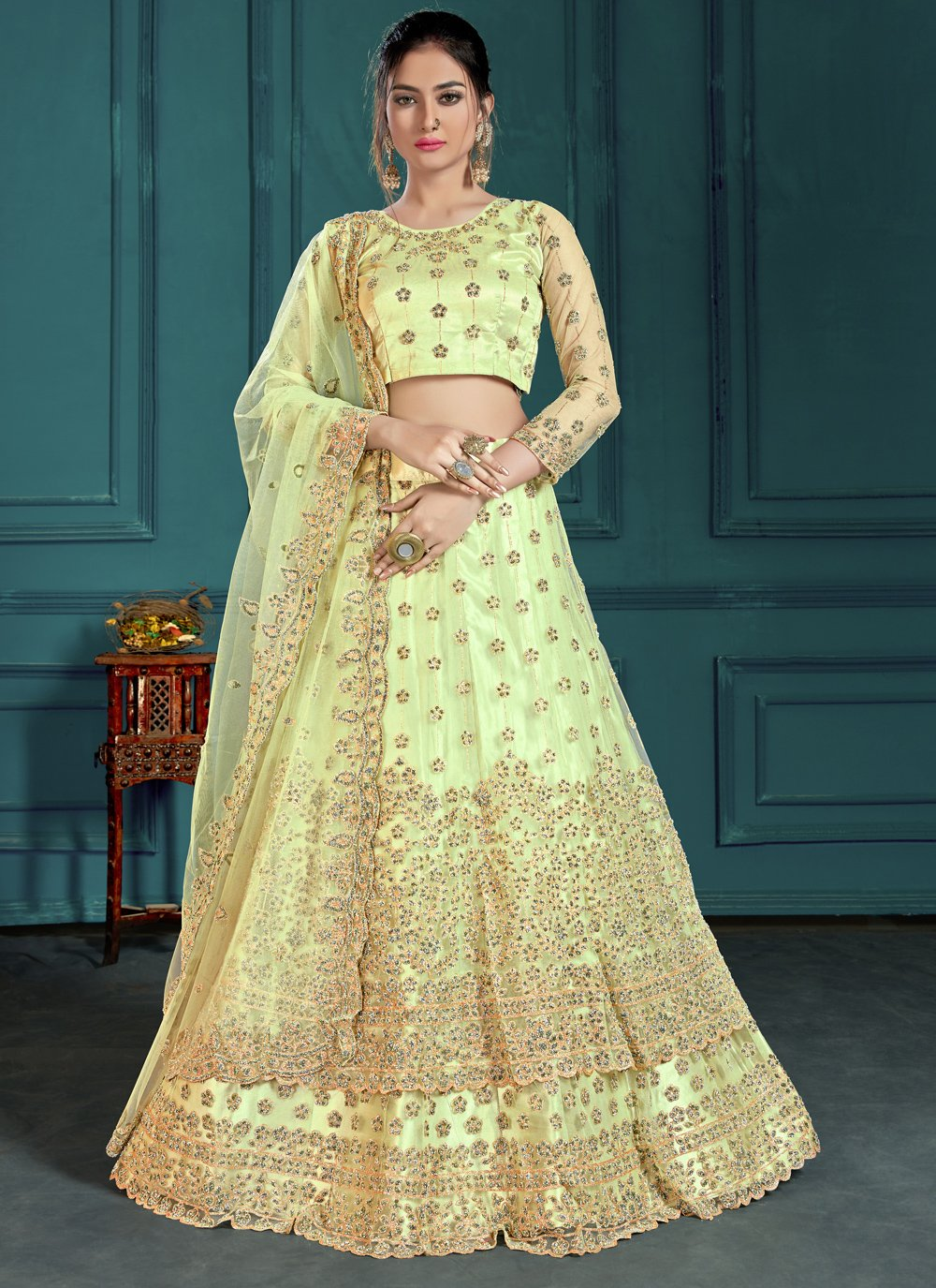 Zari Sea Green Net Designer Lehenga Choli
