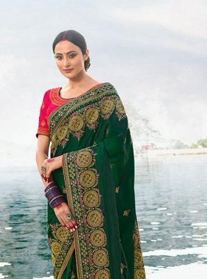 Zari Silk Classic Saree in Green