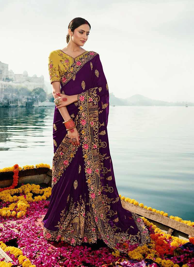 Zari Silk Classic Saree in Purple