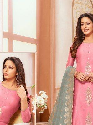 Zari Silk Pink Designer Salwar Kameez