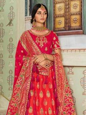 Zari Silk Red Lehenga Choli