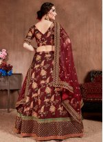Zari Silk Trendy Lehenga Choli in Maroon