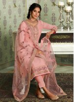 Zari Tussar Silk Pink Designer Straight Salwar Suit