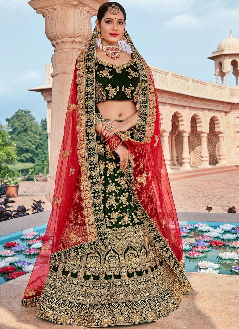 Zari Velvet Green Designer Lehenga Choli