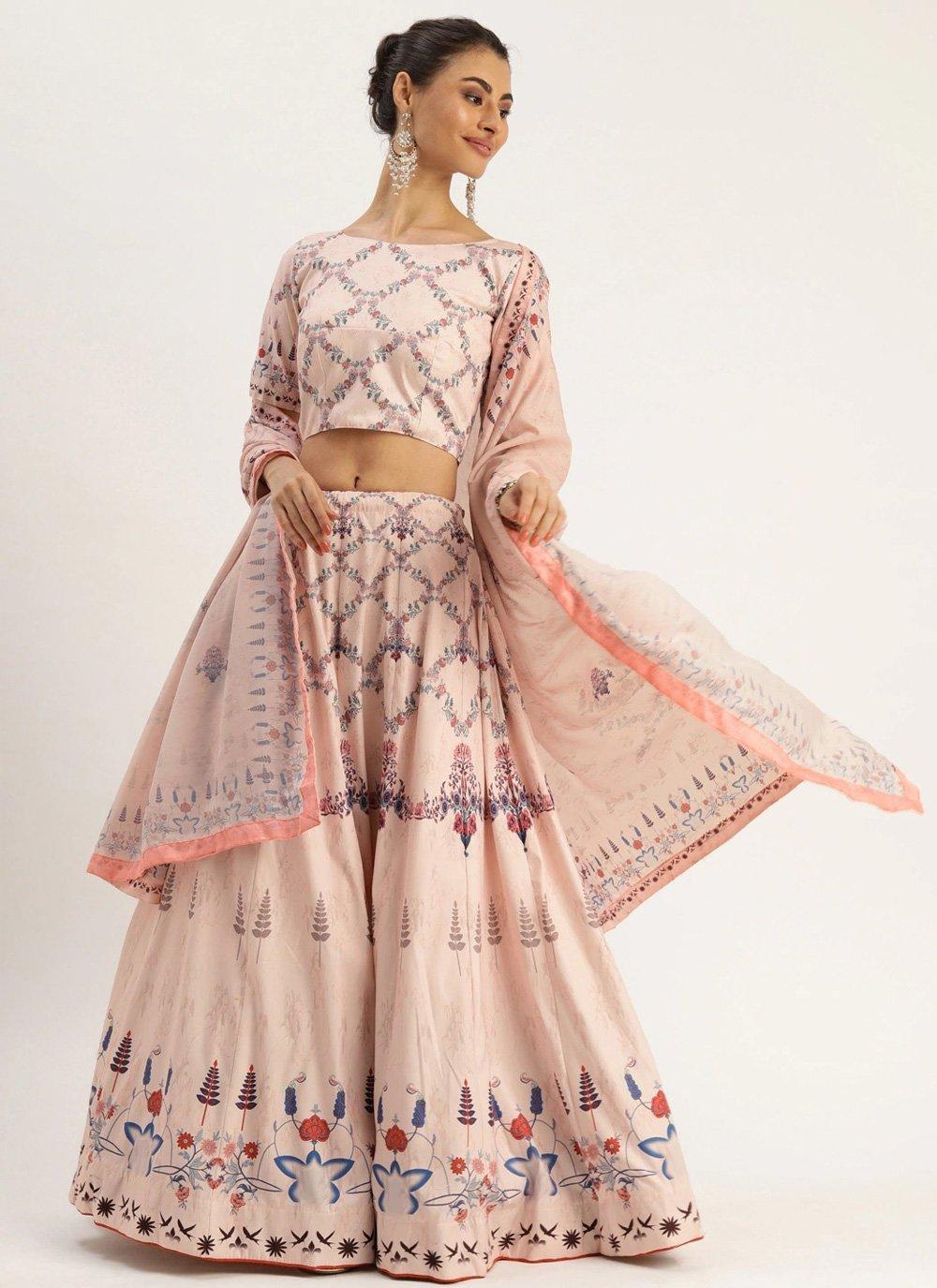 A Line Lehenga Choli Digital Print Silk in Cream