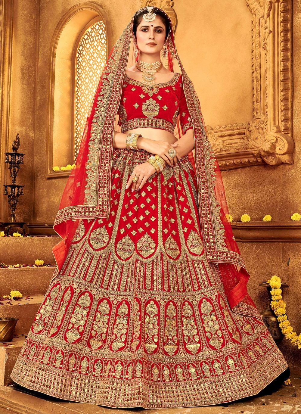 A Line Lehenga Choli Embroidered Velvet in Red