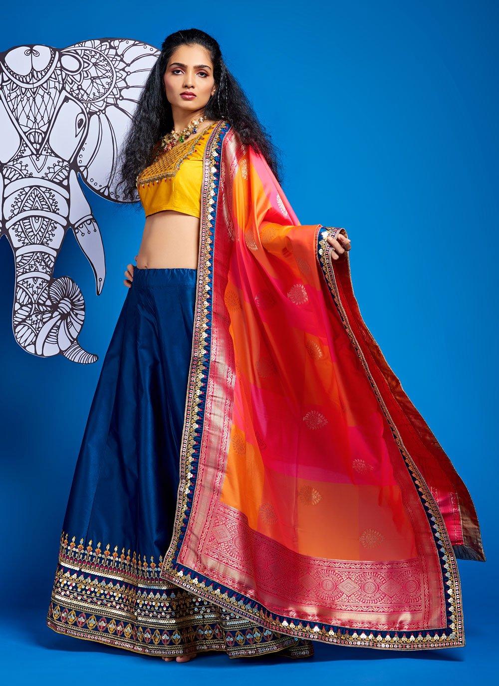 A Line Lehenga Choli Fancy Satin Silk in Blue