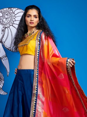 A Line Lehenga Choli Fancy Satin Silk in Blue
