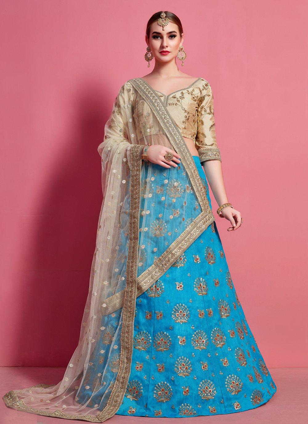 A Line Lehenga Choli Lace Art Silk in Blue