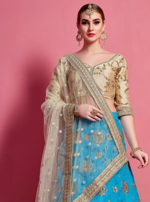 A Line Lehenga Choli Lace Art Silk in Blue