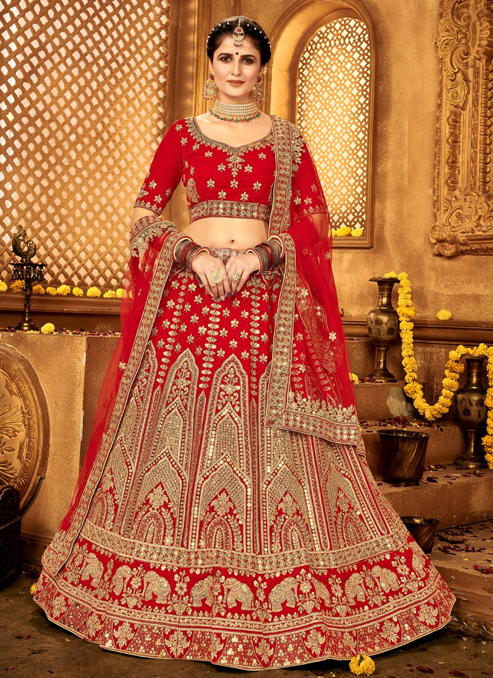 A Line Lehenga Choli Lace Velvet in Red