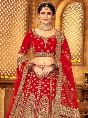 A Line Lehenga Choli Lace Velvet in Red