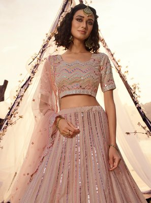 A Line Lehenga Choli Mirror Organza in Peach