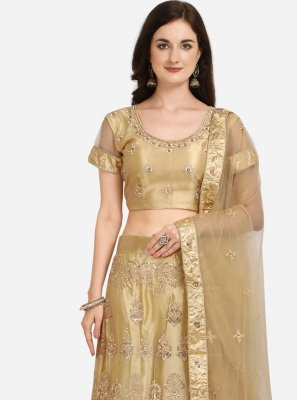 A Line Lehenga Choli Patch Border Net in Beige