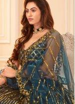 A Line Lehenga Choli Sequins Satin Silk in Blue
